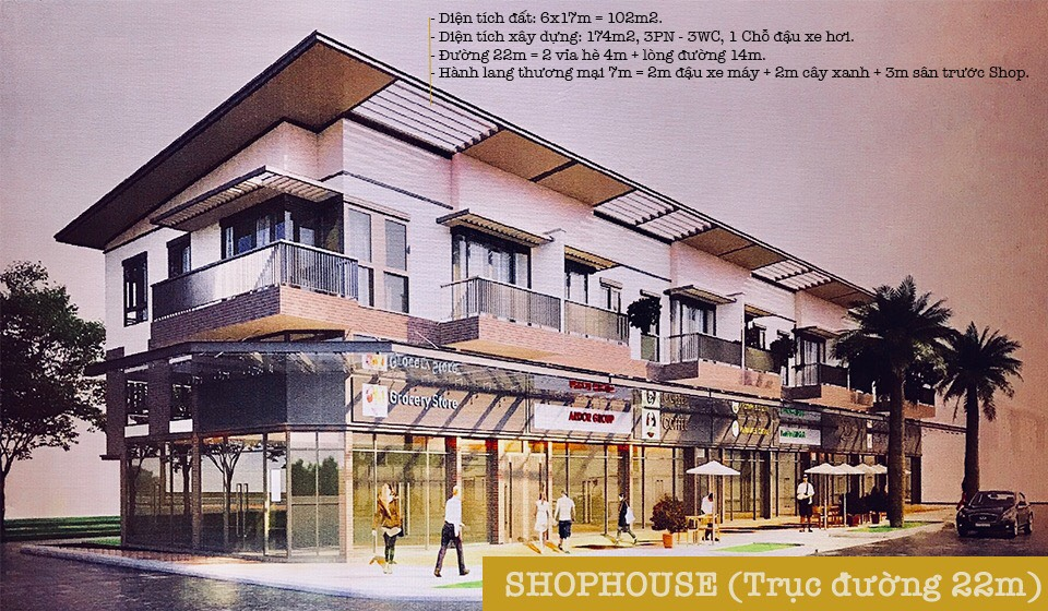 Nhà phố thương mại đường 22m – Số lượng: 200 căn