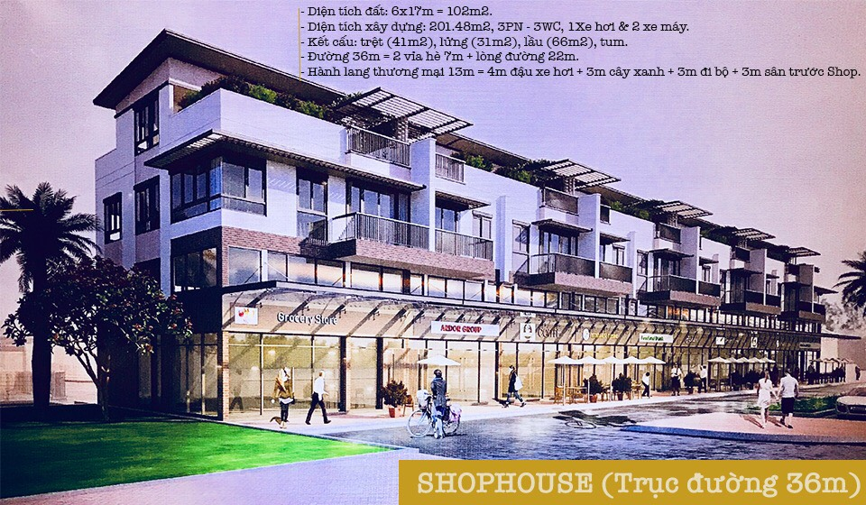 Nhà phố thương mại đường 36m – SL 100 căn