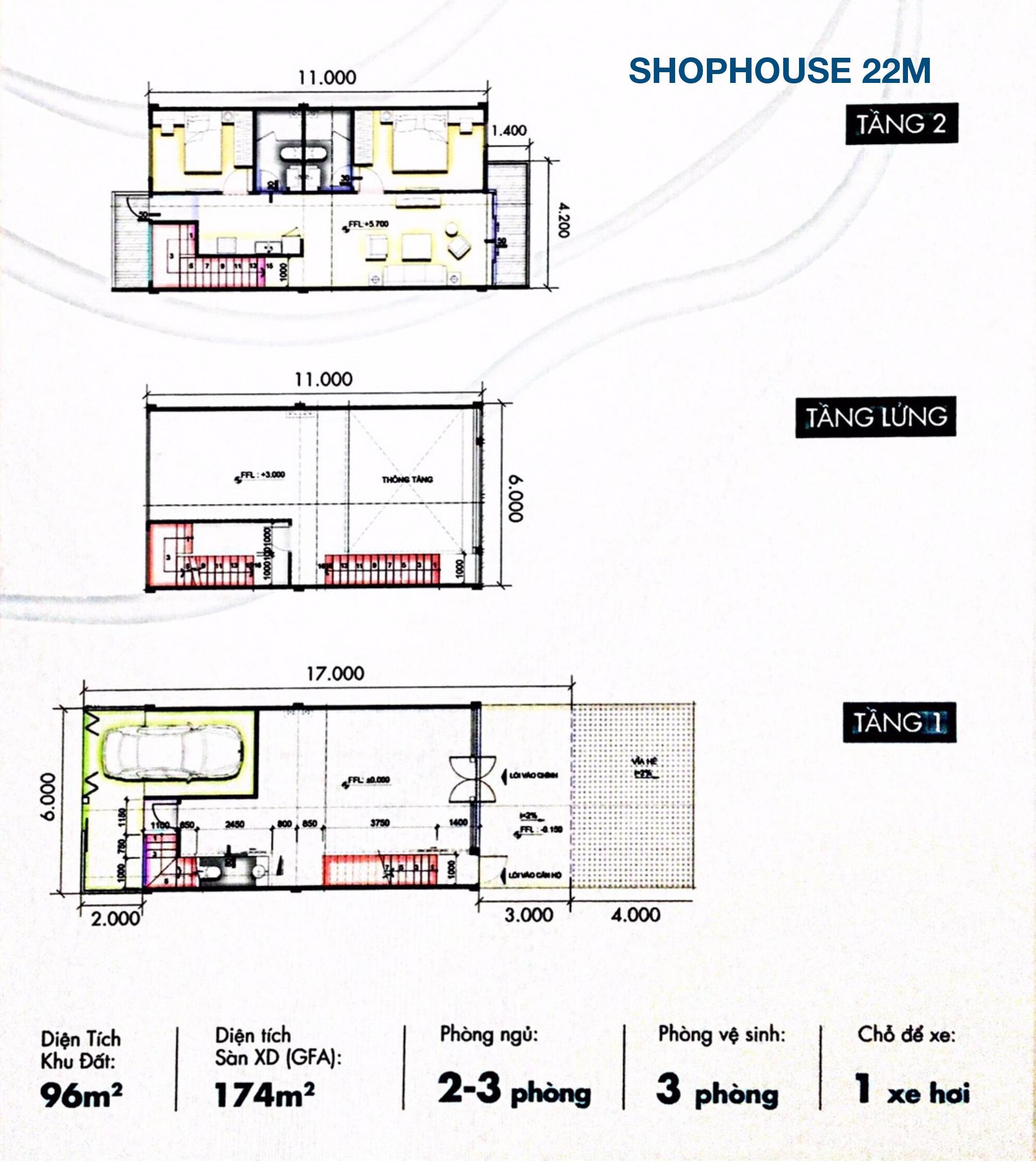 mặt bằng nhà phố thương mại đường 22m – SL 200 căn