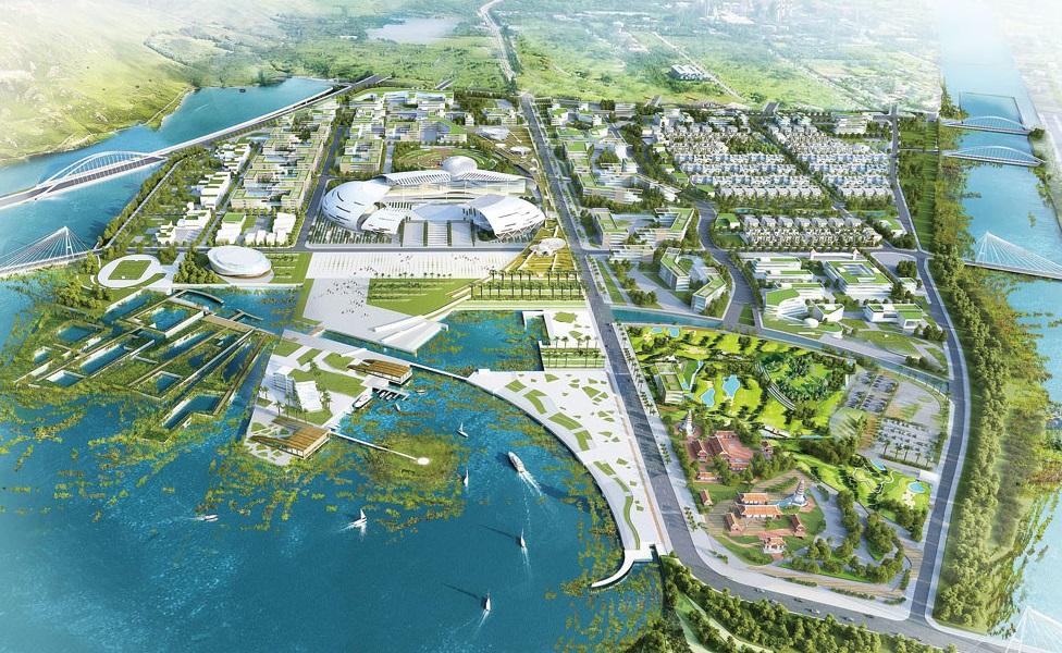 Dự án WaterPoint Nam Long tích hợp khu công viên trung tâm lên đến 21 héc ta kết hợp với hệ thống kênh đào, cảnh quan đang xen các khối nhà xuyên suốt khu đô thị.