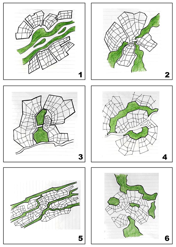Hình 3. Phân loại hình thức tổ chức hệ thống không gian xanh trong đô thị theo yếu tố tự nhiên săn có.