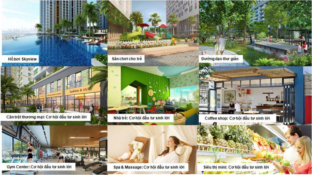 """Dự án được thiết kế quy hoạch theo ý tưởng """"thành phố an cư đa tiện ích"""" sôi động với các tiện ích thương mại, dịch vụ độc đáo phục vụ tối đa cho nhu cầu ẩm thực, giải trí, giáo dục của cư dân."""