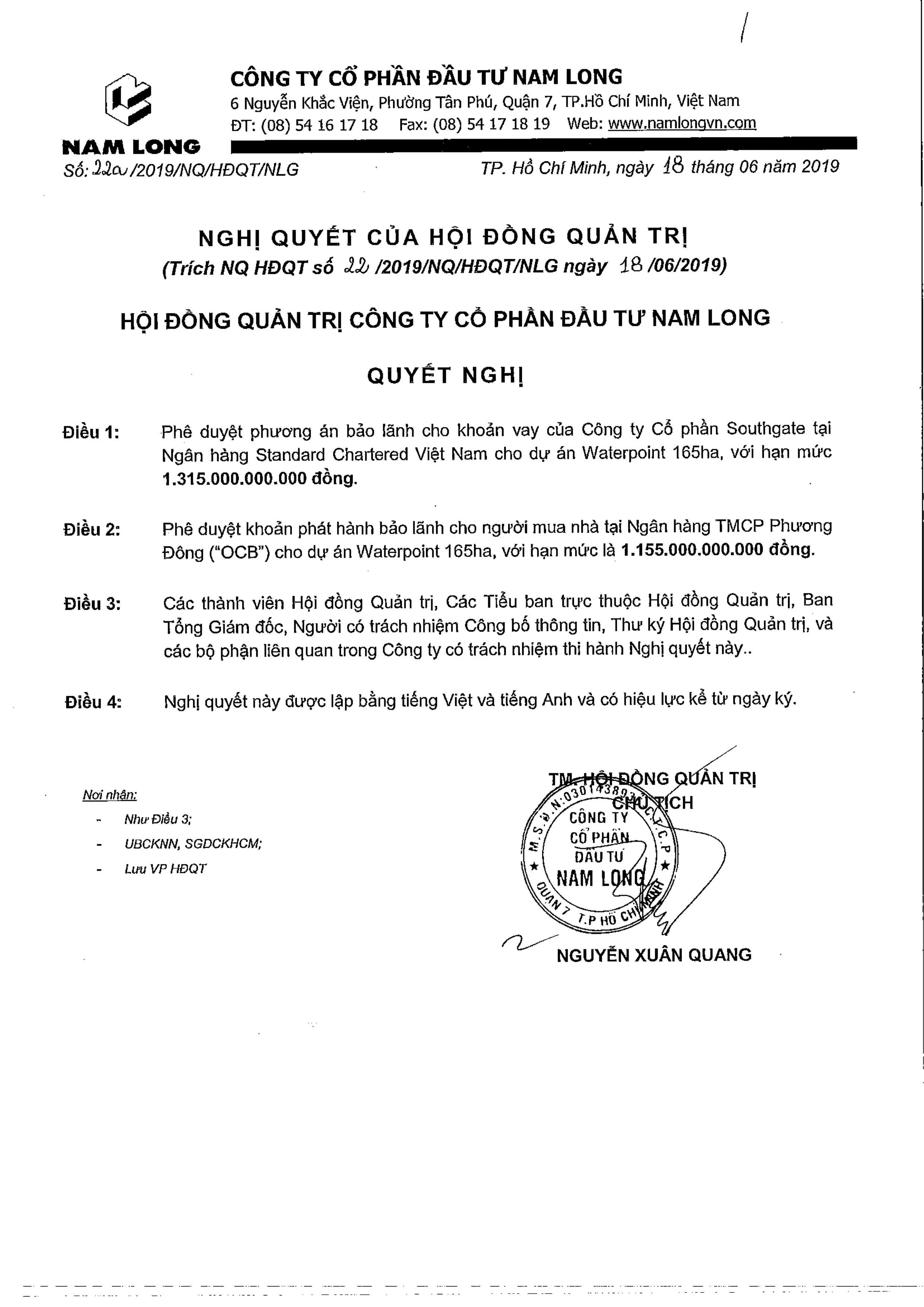 Đồng thời, Nam Long cũng phê duyệt khoản phát hành bảo lãnh cho người mua nhà tại Ngân hàng TMCP Phương Đông OCB cho dự án nói trên với hạn mức 1.155 tỉ đồng.