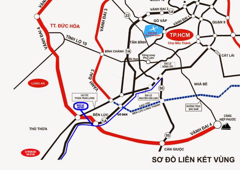 Vị trí dự án phố thương gia Nam Long, Bến Lức, Long An