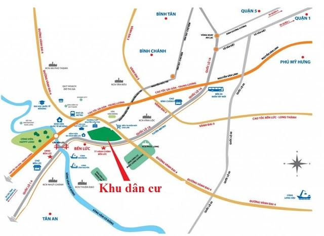 Bản đồ vị trí khu dân cư eco land Bến Lức