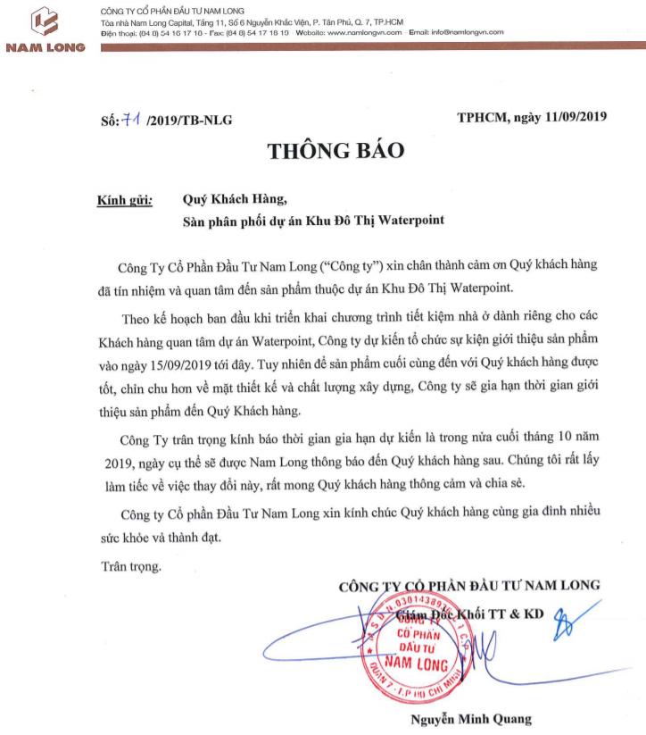 Thông báo: Nam Long dời lịch mở bán dự án Waterpoint