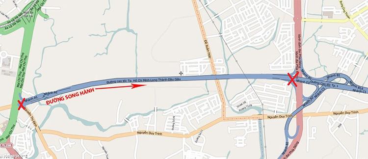 Vị trí tuyến đường song hành cao tốc TP.HCM - Long Thành - Dầu Giây