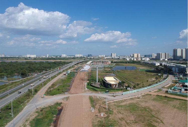 Toàn cảnh dự án đường song hành bên phải đường dẫn vào cao tốc TP HCM -  Long Thành – Dầu Giây nhìn từ trên cao. Ảnh: Báo Đời sống Việt Nam