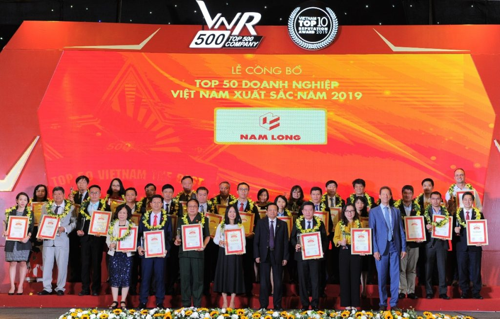 Tập đoàn Nam Long tiếp tục được vinh danh trong danh sách Top 50 Doanh nghiệp Việt Nam xuất sắc năm 2019