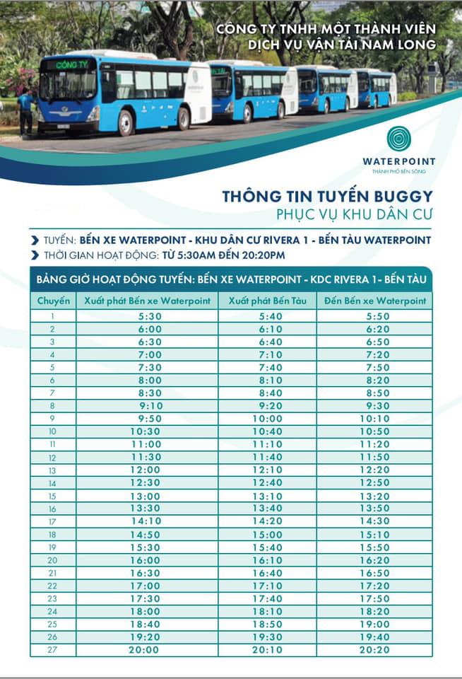 Cập nhật lịch trình xe buýt Waterpoint