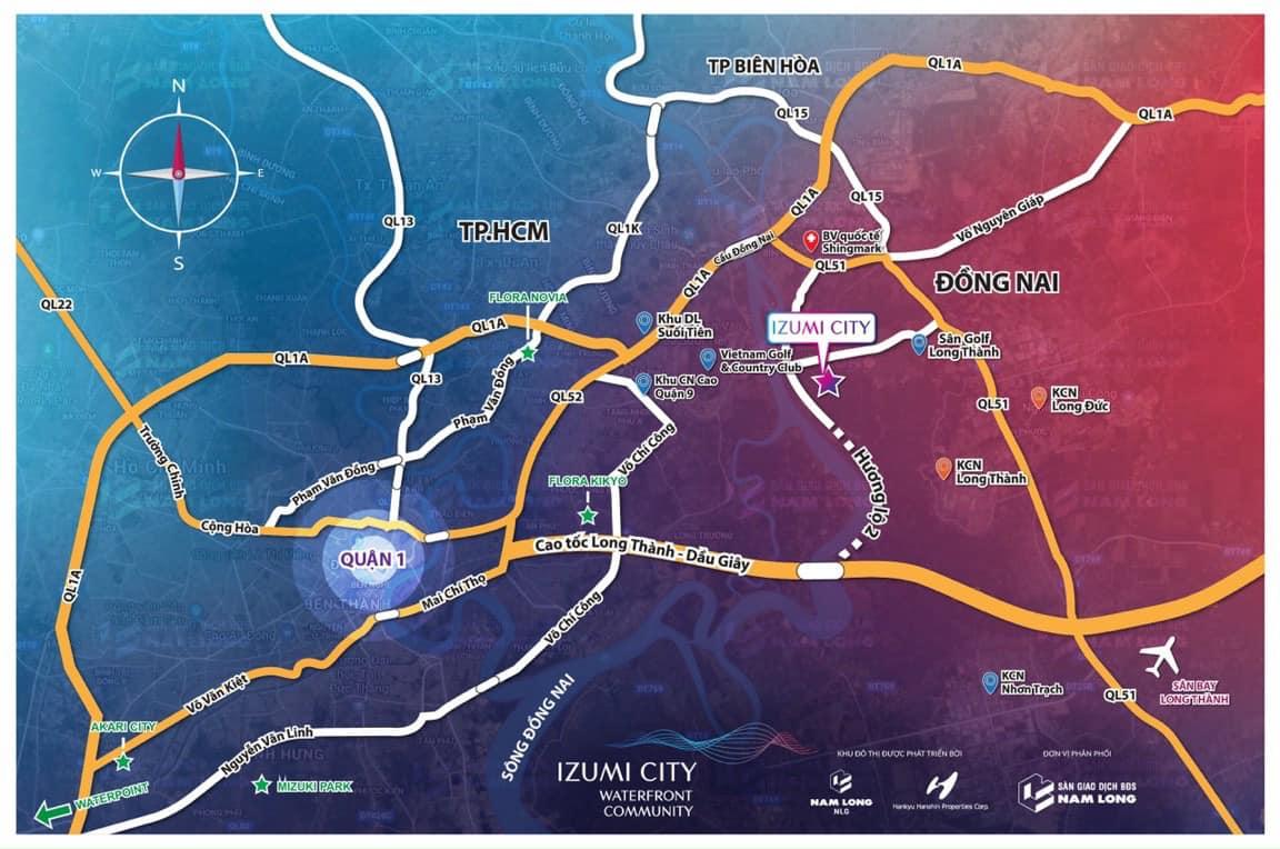 Vị trí dự án Izumi City Đồng Nai
